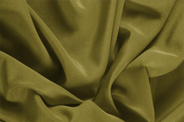 Tessuto Unito Crêpe de Chine Verde Foglia in Seta per Abito, Camicia, Lingerie.