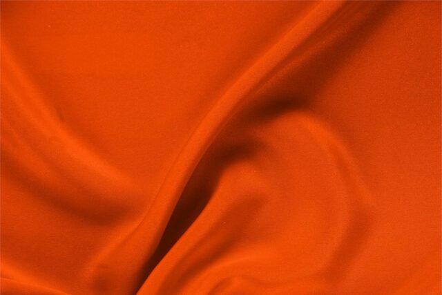 Tessuto Unito Drap Arancione Corallo in Seta per Abito, Abito da Cerimonia, Giacca, Gonna, Pantalone.