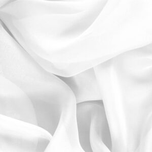 Ottico White Silk Chiffon Plain fabric for Ceremony Dress, Dress, Party dress, Shirt, Wedding dress.