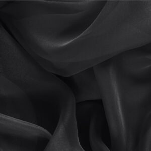 Black Silk Chiffon Plain fabric for Ceremony Dress, Dress, Party dress, Shirt.