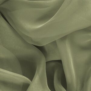 Olive Green Silk Chiffon Plain fabric for Ceremony Dress, Dress, Party dress, Shirt.