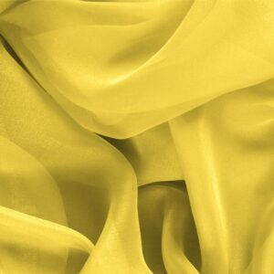 Primula Yellow Silk Chiffon Plain fabric for Ceremony Dress, Dress, Party dress, Shirt.