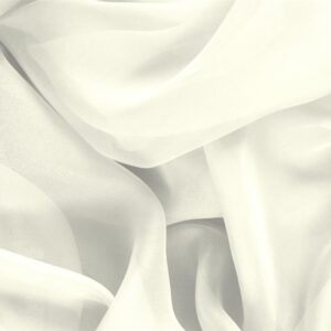 Ivory White Silk Chiffon Plain fabric for Ceremony Dress, Dress, Party dress, Shirt, Wedding dress.