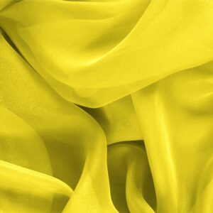 Sun Yellow Silk Chiffon Plain fabric for Ceremony Dress, Dress, Party dress, Shirt.