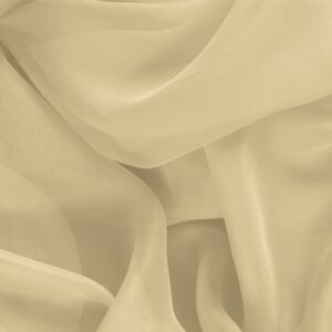Mandorla Beige Silk Chiffon Plain fabric for Ceremony Dress, Dress, Party dress, Shirt, Wedding dress.
