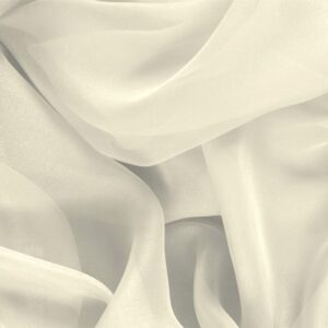 Latte White Silk Chiffon Plain fabric for Ceremony Dress, Dress, Party dress, Shirt, Wedding dress.