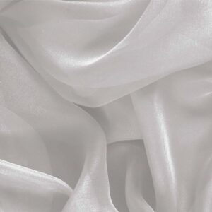 Dew Silver Silk Chiffon Plain fabric for Ceremony Dress, Dress, Party dress, Shirt, Wedding dress.