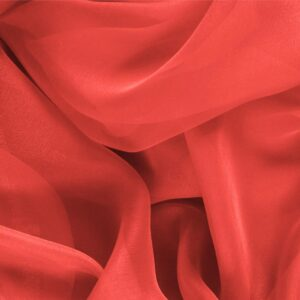 Geranio Pink Silk Chiffon Plain fabric for Ceremony Dress, Dress, Party dress, Shirt.
