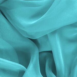 Tissu Uni Chiffon Bleu Onda en Soie pour Chemise, Robe, Robe de cérémonie, Robe de soirée.