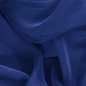 Zaffiro Blue Silk Chiffon Plain fabric for Ceremony Dress, Dress, Party dress, Shirt.