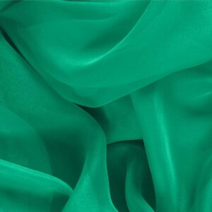 Bandiera Green Silk Chiffon Plain fabric for Ceremony Dress, Dress, Party dress, Shirt.