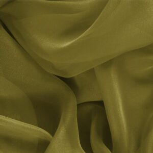 Foglia Green Silk Chiffon Plain fabric for Ceremony Dress, Dress, Party dress, Shirt.