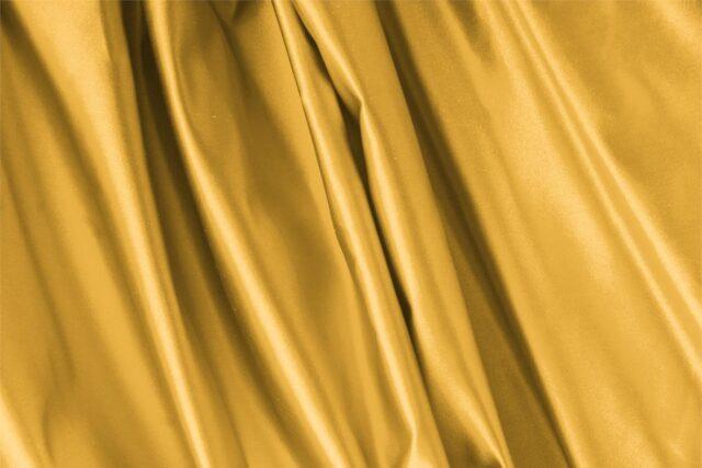 Tissu Uni Duchesse Jaune Arancio en Soie pour Jupe, Robe, Robe de cérémonie, Robe de soirée, Veste, Veste-Manteau légère.