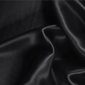 Black Silk Crêpe Satin Bio Plain fabric for Ceremony Dress, Dress, Party dress, Shirt, Skirt, Underwear, Wedding dress.