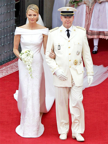 Princess Charlene of Monaco in Giorgio Armani dress
