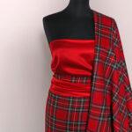 Red wool tartan fabric | new tess