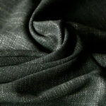 Green wool and silk tweed fabric, hopsack weave | new tess