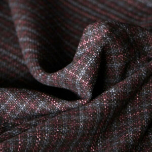 Gray, Red Silk, Wool Tartan Fine Suit fabric for Jacket, Skirt.