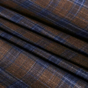 Blue, Brown Silk, Wool Tartan Fine Suit fabric for Jacket.