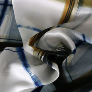 Blue, White Silk Crêpe Satin Tartan Print fabric for Dress, Pants, Shirt.