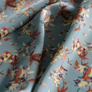 Blue, Brown Silk Crêpe Satin Flowers Print fabric for Dress, Pants, Shirt.