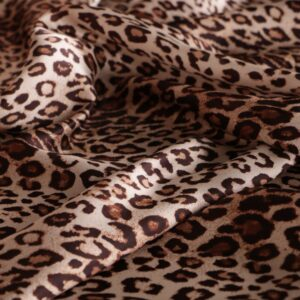 Brown Silk Crêpe Satin Animals Print fabric for Dress, Pants, Shirt.