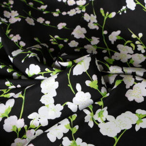 Black, White Silk Crêpe Satin Flowers Print fabric for Dress, Pants, Shirt.