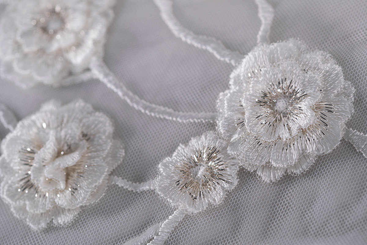 Tulle with Applications for wedding dress | new tess bridal fabrics and laces