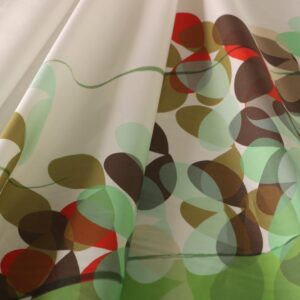 Green, White Cotton Abstract Print fabric for Dress, Pants, Shirt, Skirt.