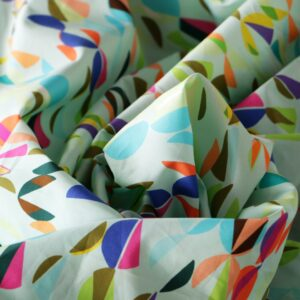 Green, Multicolor Cotton Geometric Print fabric for Dress, Pants, Shirt, Skirt.