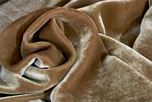 Beige Silk and Viscose Velvet Fabric - 002