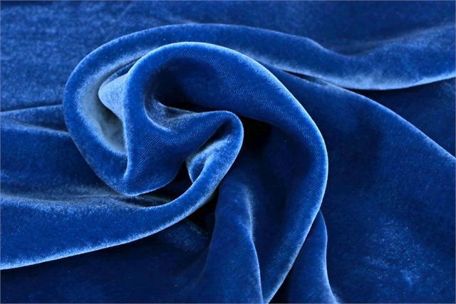 Blue Silk and Viscose Velvet Fabric - 021