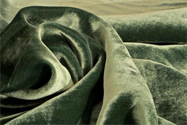 Green Silk and Viscose Velvet Fabric - 022
