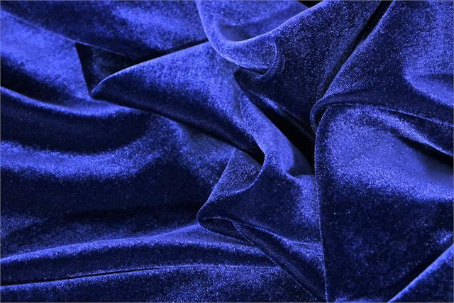 Blue Silk and Viscose Velvet Fabric - 508