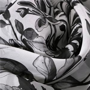 Black, White Silk Georgette Flowers Print fabric for Dress, Shirt.
