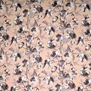 Gray, Pink Silk Flower Fabric - Georgette Viola K00805