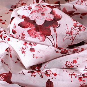 Tissu Imprimé Fleurs Georgette Blanc, Rouge en Soie pour Chemise, Robe.