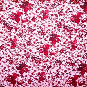 Tessuto Georgette Fiori Acquarel K12800 Bianco, Rosso in Seta