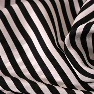 Black, White Silk Crêpe de Chine Stripes Print fabric for Dress, Pants, Shirt.