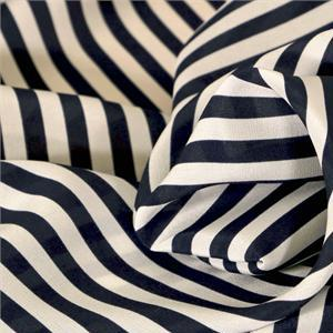 Blue, White Silk Crêpe de Chine Stripes Print fabric for Dress, Pants, Shirt.