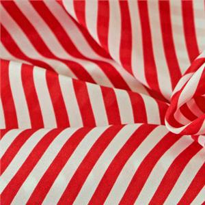 Red, White Silk Crêpe de Chine Stripes Print fabric for Dress, Pants, Shirt.