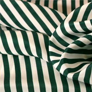 Tissu Imprimé Rayures Crêpe de Chine Blanc, Vert en Soie pour Chemise, Pantalon, Robe.