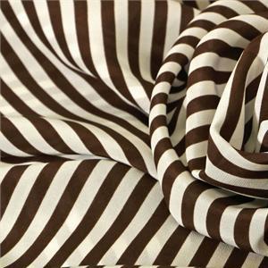 Brown, White Silk Crêpe de Chine Stripes Print fabric for Dress, Pants, Shirt.
