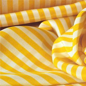 White, Yellow Silk Crêpe de Chine Stripes Print fabric for Dress, Pants, Shirt.
