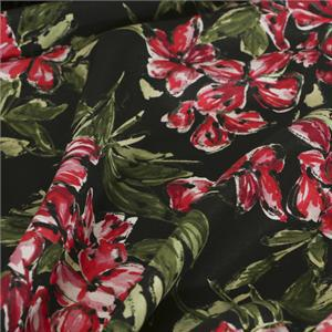 Black, Red Silk Crêpe de Chine Flowers Print fabric for Dress, Pants, Shirt, Skirt.