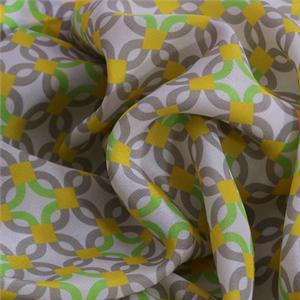 Tessuto Stampa Geometrico Crêpe de Chine Giallo, Multicolore, Verde in Seta per Abito, Camicia.