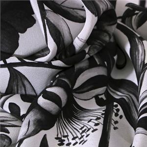 Black, White Silk Crêpe de Chine Flowers Print fabric for Dress, Pants, Shirt, Skirt.