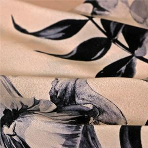 Gray, Pink Silk Crêpe de Chine Flowers Print fabric for Dress, Pants, Shirt, Skirt.