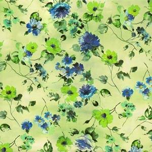 Blue, Green Silk Crepe de Chine Floral Fabric