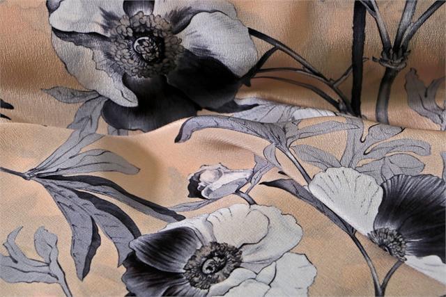 Gray, Pink Silk Flower Fabric - Crepe Se Viola K00805
